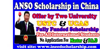 ANSO Scholarship 2021-USTC Scholarship and UCAS Scholarship