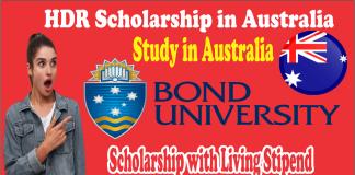 HDR Scholarship in Australia Bond University Scholarship 2021