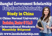 Shanghai Government Scholarship 2021 SGS Scholarship in Shanghai